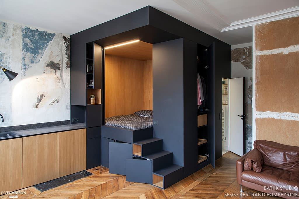 дизайн квартиры-студии, спальня-куб