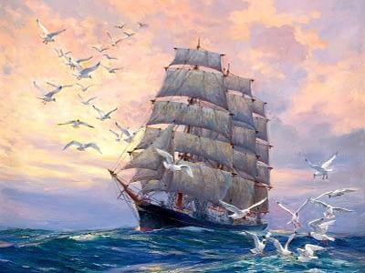 Художественная роспись, корабль в океане