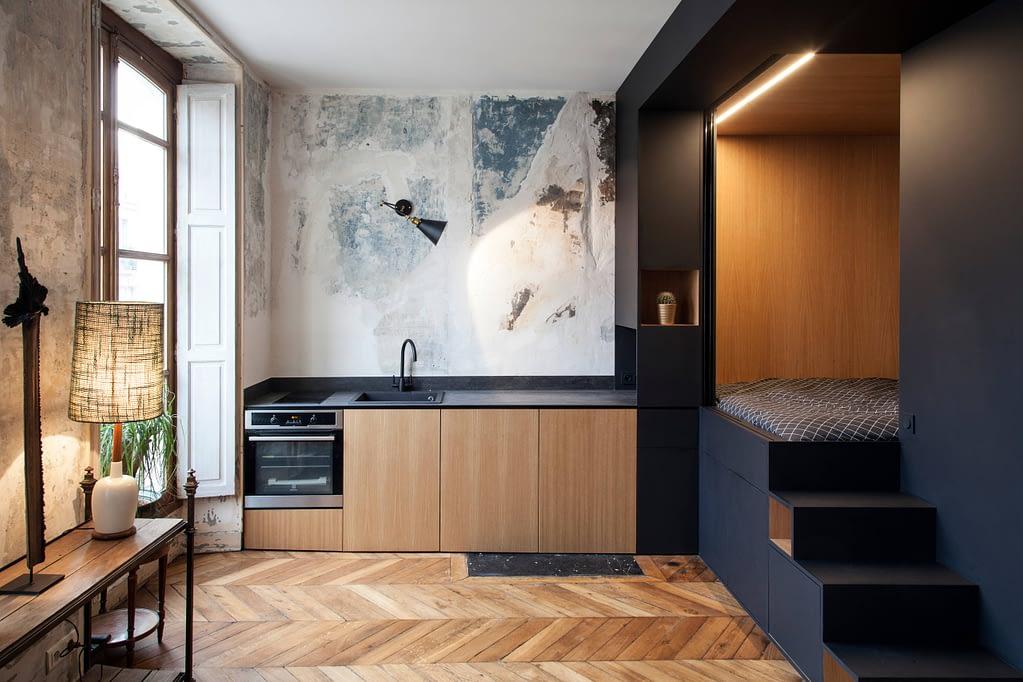 дизайн квартиры-студии,спальня-куб 1