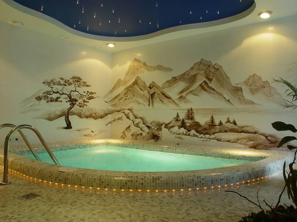 Роспись стен в ванной комнате в японском стиле
