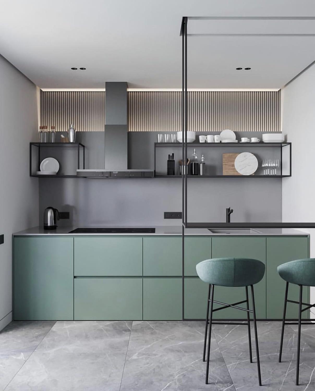 Дизайн маленькой кухни модные цвета