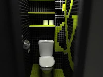 Туалет в черно зеленом цвете